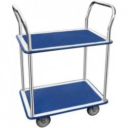 JPC Chariot roulant 2 plateaux 730 x 470 mm Bleu Gris