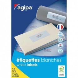 AGIPA Boite de 6500 étiquettes 38x21,2 mm (65 x 100F A4) Multi-usage Coin Droit Perm. Blanc