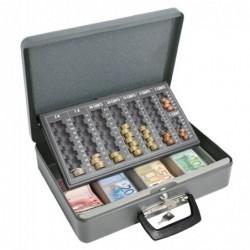 WEDO Coffret-caisse à monnaie Maxi 2 poignées L37xP29xH11 cm Acier Gris