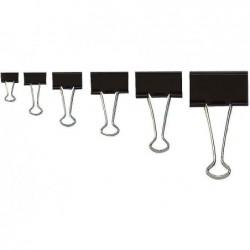 WEDO Boite de 12 pinces clip Foldback L 41 mm Epaisseur 19 mm Noir