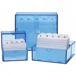 WEDO Boîte à fiches A8 à l'italienne avec intercalaire et 100 fiches Bleu transparent