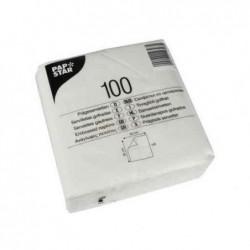 PAPSTAR Lot de 100 serviettes, 300 x 300 mm, 1 couche, blanc