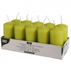 PAPSTAR Bte de 10 Bougies cylindrique Diam 40 mm H 90 mm Vert Kiwi