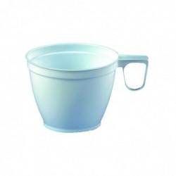 PAPSTAR Pack de 60 Tasses à café plastique avec anse 0,18 l Blanc