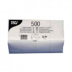 PAPSTAR Lot de 500 serviettes 330 x 330 mm, 1 couche, blanc