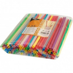 PAPSTAR Lot de 135 pailles 25cm diam 8 mm assorties
