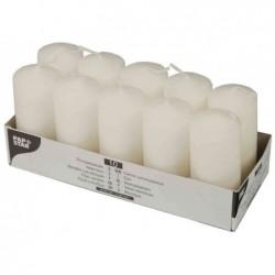 PAPSTAR Bte de 10 Bougies cylindrique Diam 40 mm H 90 mm Blanc