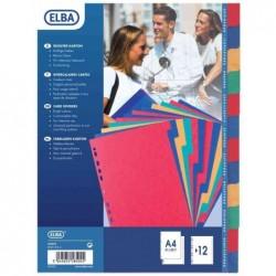 ELBA Intercalaires carton Strong A4 Max 12 positions onglets neutres couleur