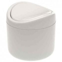 OKT Poubelle de table Polypro 1,3 L H 13 cm Diam 14 cm Blanc
