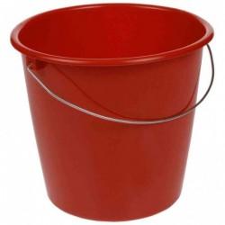 OKT Seau avec étrier Métal Rond 10 litres Rouge hot lava
