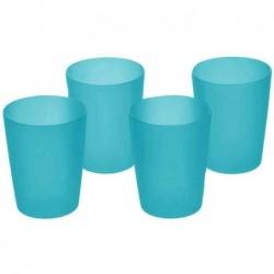 OKT Pack de 4 Verres en plastique EASYHOME 0,25 Litre H220 mm Fresh Bleu
