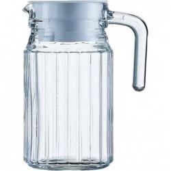"""ESMEYER Pichet en verre """"Quadro"""" avec couvercle 1,1 L H 24,5 cm"""