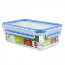 EMSA Boîte Alimentaire Rectangulaire Couvercle 1.0 Litre Transparent/bleu Clip & Close