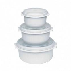 EMSA Set de 3 Cocottes Micro Family Micro-Onde 0,5/1,0/1,5 L Blanc