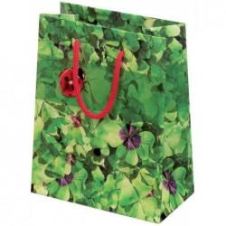 SUSY CARD Sac cadeau Pelliculé Brillant L260 x P 127 x H 324 mm Motif Trèfle à 4 feuilles