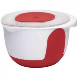 EMSA Bol à mixer avec couvercle 3 litres Rouge/ Blanc