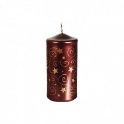 """PAPSTAR Bougie cylindrique de Noel """"Little Stars"""" Diam 6 x H 13 cm Bordeaux"""
