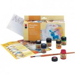 """MARABU Peinture pour textile """"Textil"""", kit de démarrage 6 x 15 ml"""