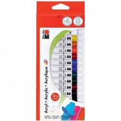 MARABU Kit de 12 Tubes 12 ml Peinture acrylique miscibles Assorties