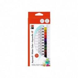MARABU Peinture aquarelle kit de 12 tubes de 12 ml