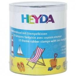 """HEYDA Kit de 15 Timbres Bois à motifs """"vacances"""""""