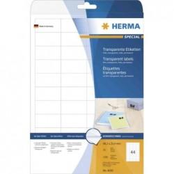 HERMA Boite de 1100 étiquettes Transparente SuperPrint 48,3 x 25,4mm Sur 25 Feuilles