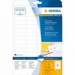 HERMA Bte de 1600 Etiquettes de correction/surcollage SPECIAL 48,3 x 16,9 mm Blanc