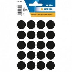 HERMA Etui 100 étiquettes multi-usages Rondes 19 mm Noir