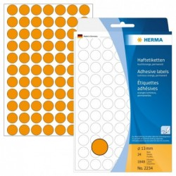 HERMA Etui de 1848 étiquettes multi-usage Diam13 mm Orange fluo