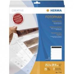 HERMA Lot de 25 pochettes perforées pour 7 x 6 negatifs Transparent