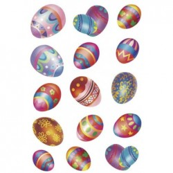 "HERMA Stickers DECOR ""Oeufs de Pâques"" scintillant 2 feuilles de 15"