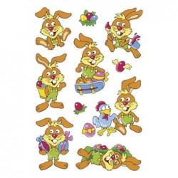 """HERMA Feuille de 10 stickers de Pâques MAGIC """"joyeux lapins"""", yeux mobiles"""