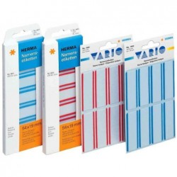 HERMA Pqt de 675 Etiquettes-badges 63,5 x 29,6 mm soie d'acétate bord bleu 25F A4