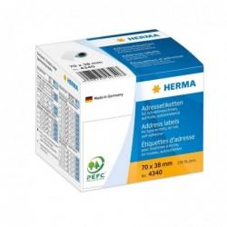 HERMA Boite de 250 Etiquettes adresses, 70 x 38 mm, en continu, blanc