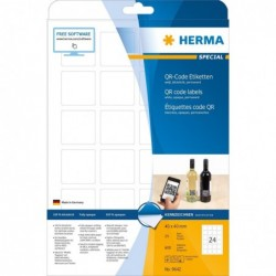 HERMA Pqt de 600 étiquettes code QR 40 x 40 mm carré Sur 25 F A4 opaques Blanc