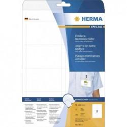 HERMA paquet de 250 plaques nominatives à insérer SPECIAL,90 x 54 mm,blanc