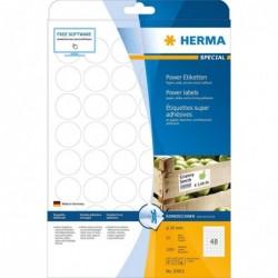 HERMA Bte de 1200 Etiquettes SPECIAL Super Adhésives Diam 30 mm  Blanc