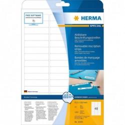 HERMA Boite de 1200 Etiquettes SPECIAL Amovibles 63,5 x 16,9 mm Blanc
