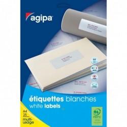 AGIPA Etui 1100 étiquette 50x25 mm (44 x 25F A4) Multi-usage Coin Rond Permanent Blanc
