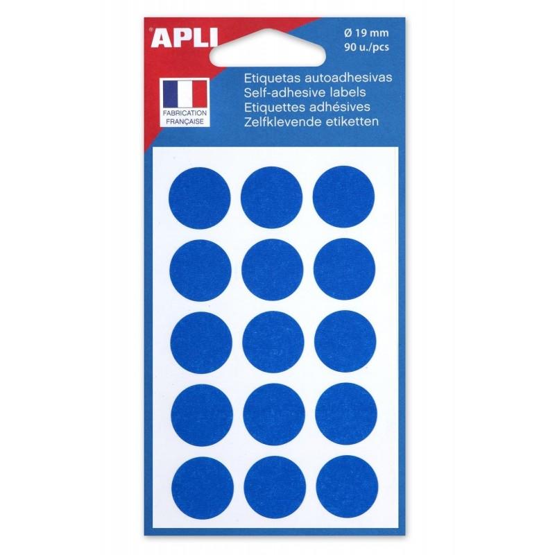 AGIPA Sachet de 90 étiquettes Gommettes de signalisation Rondes 19 mm Bleu