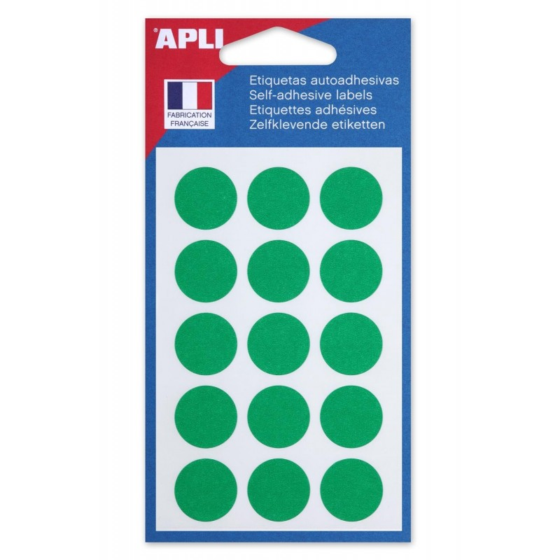 AGIPA Sachet de 90 étiquettes Gommettes de signalisation Rondes 19 mm Vert