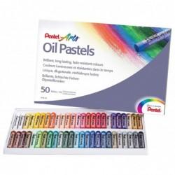 PENTEL Etui de 50 pastels à huile PHN4 50 Couleurs Lumineuses