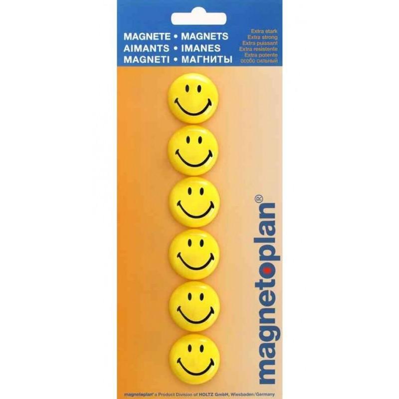MAGNÉTOPLAN Blister de 6 aimants smiley Diam 30 mm