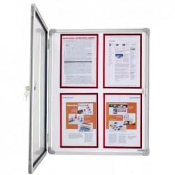 MAGNÉTOPLAN Vitrine d'affichage intérieur SP 4 x A4 Fond blanc Magnétique L 61 x H 73 cm
