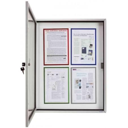 MAGNÉTOPLAN Vitrine d'affichage interieur / extérieur 4 x A4 fond magnétique L65xH79xP6,5 cm