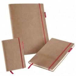 TRANSOTYPE Carnet SenseBook en cuir naturel et élastique rouge 90x140mm 135 pages