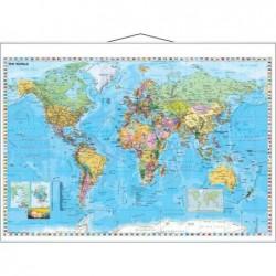 FRANKEN Carte Murale du monde laminé 1370 x 970 mm Effaçable Cadre blanc