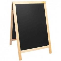 SECURIT Panneau trottoir DELUXE avec tableau Noir Cadre Hêtre 55 x 85 cm