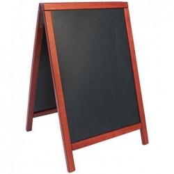 SECURIT Panneau trottoir DELUXE avec tableau Noir Cadre Acajou 55 x 85 cm