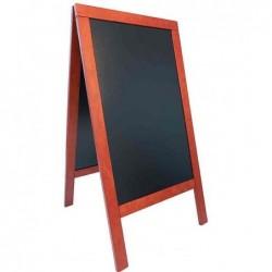 SECURIT Panneau trottoir DELUXE avec tableau Noir Cadre Acajou 70 x 135 cm